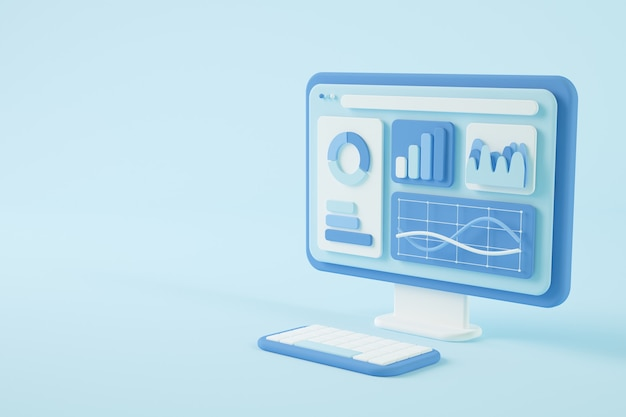 Data on screen 3d rendering concept