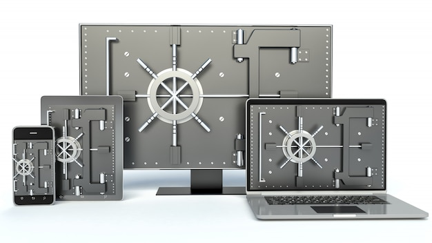 Data security concept. laptop, smartphone, tv and combination lock. 3d