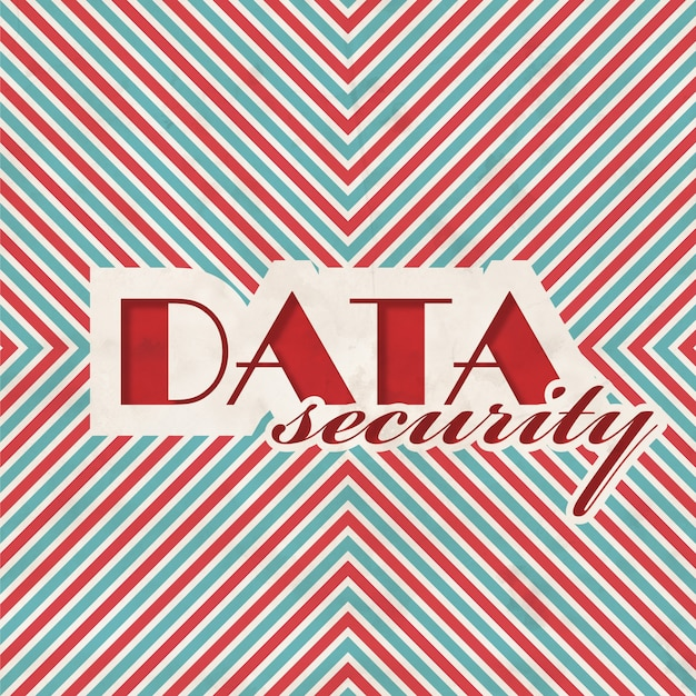 Data security concept on red and blue striped. vintage concept in flat design.