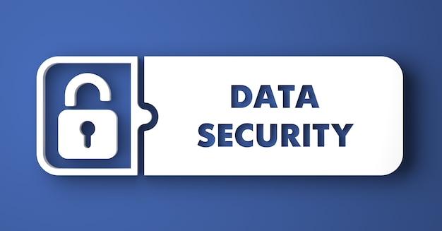 データセキュリティの概念。フラットなデザインスタイルの青い背景の上の白いボタン。