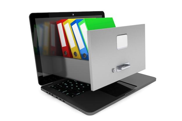 데이터 저장 개념. 흰색 배경에 노트북 내부 캐비닛에 office 바인더 보관