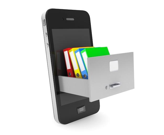데이터 저장 개념. 흰색 배경에 휴대 전화 내부 캐비닛에 사무실 바인더를 보관
