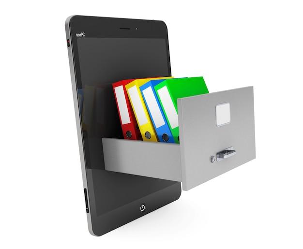 데이터 저장 개념. 흰색 배경에 tablet pc 내부 캐비닛에 office 바인더 보관