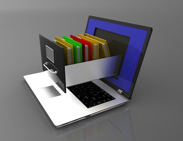 정보 저장소. 노트북 및 파일 캐비닛. 3d 그림