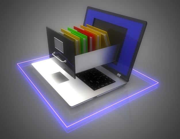 Хранилище данных. ноутбук и картотечный шкаф. 3d иллюстрация