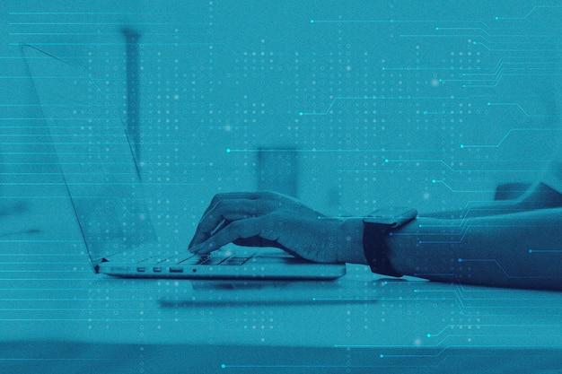 Sfondo blu della tecnologia dei dati con media remixati da hacker