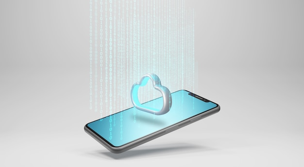 Данные в облачное хранилище. концепция технологии облачных вычислений, 3d-рендеринг