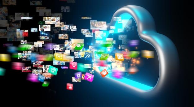 Данные в облачное хранилище. концепция технологии облачных вычислений.