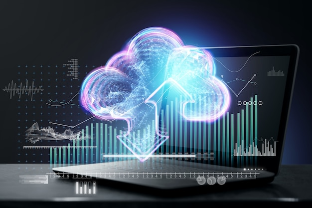 Data transfer technology, cloud technology with virtual cloud service icons and cloud hologram on laptop background. technology concept, data storage, future. double exposure.
