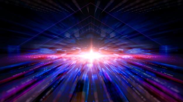 Data transmission channel. transferring of big data. motion of digital data flow.