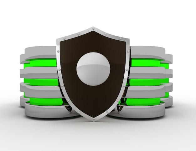 Концепция безопасности баз данных и компьютерных данных. 3d визуализированная иллюстрация