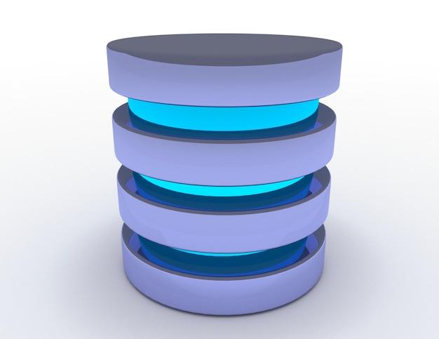데이터베이스 및 하드 디스크 아이콘. 3d 렌더링 된 그림