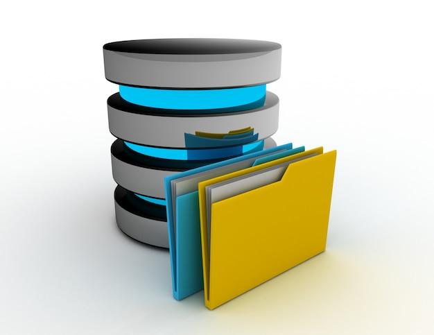 데이터베이스 스토리지 개념입니다. 3d 렌더링 된 그림