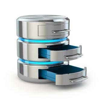 データベースストレージの概念。白で隔離されるハードディスクアイコン。 3d
