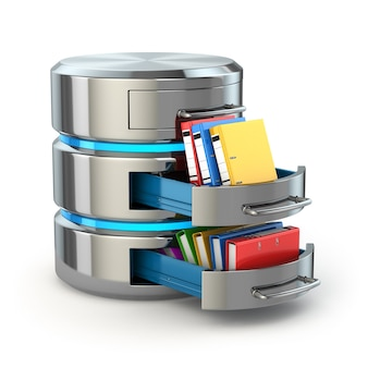 データベースストレージの概念。白で隔離のフォルダとハードディスクのアイコン。 3d