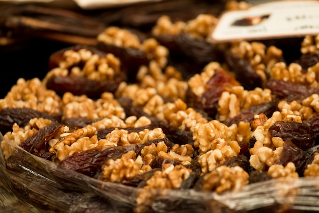 Date fruit with walnuts