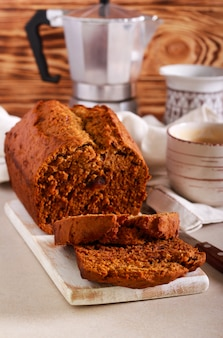 Date loaf, served with coffee