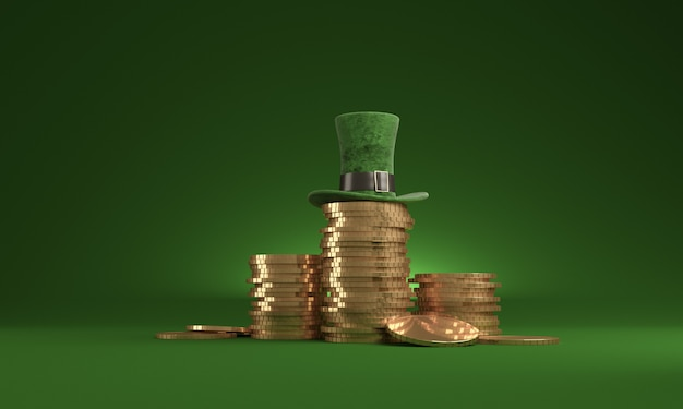 date st patrick's day, march 17, with leprechaun hat and pot of gold, on green.