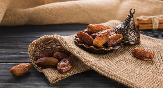 Dates fruit on plate on canvas