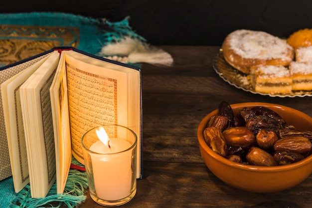 Dates and pastry near burning candle and opened book