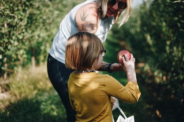 いくつかのリンゴを選ぶ母とdaugher