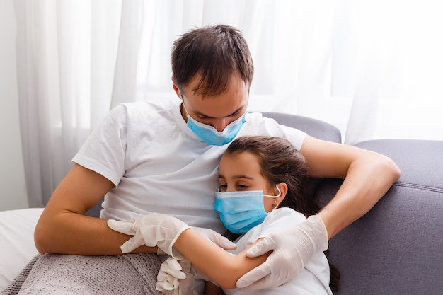 Daughter and father are sick at home quarantine