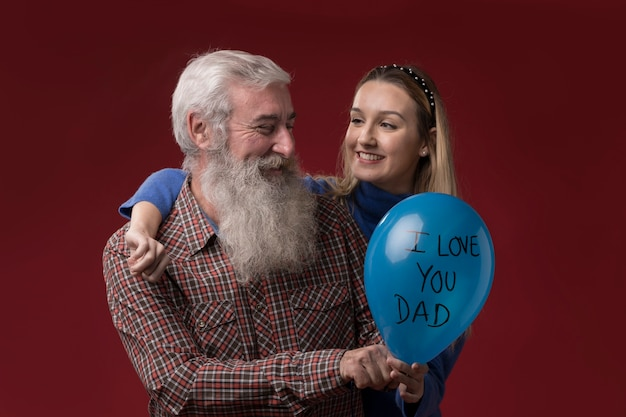 Daughter and father on fathers day