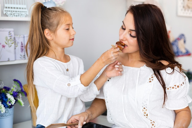 Daughter offering muffin to her mother