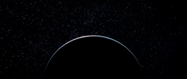 Dawn on the blue planet earth in space eclipse