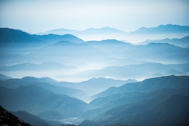 Dawn of the hwangmasan mountain with the sea of clouds