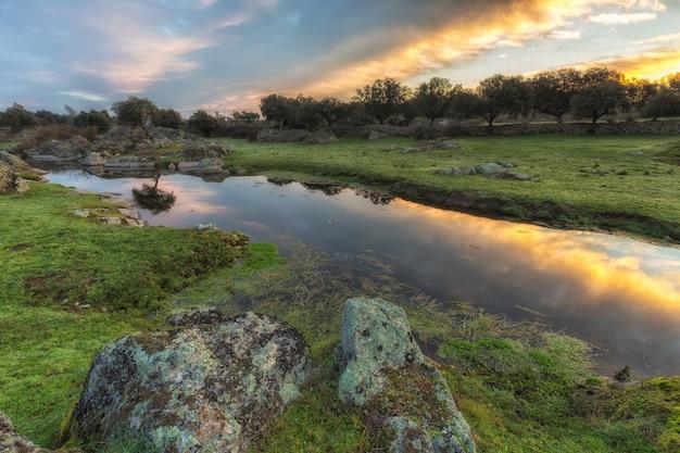 Dawn in a lagoon near arroyo de la luz, spain.