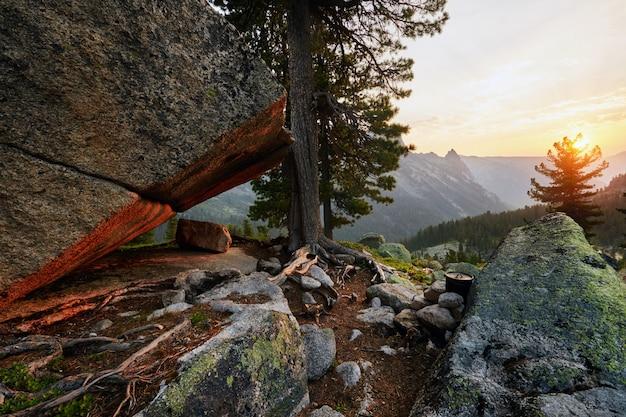 Dawn in the mountain siberian natural park ergaki