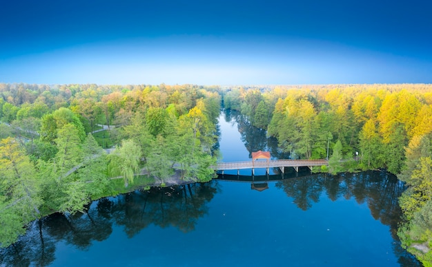 湖に流れ込む川が流れる森の夜明け。川に架かる木造の橋で、真ん中にガゼボがあります。ドローンビュー、航空写真。