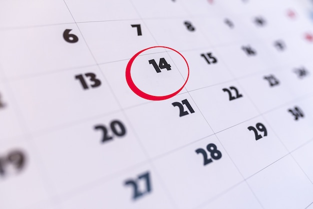 Day 14 of the calendar marked in red. valentine's day. important appointment. don't forget day.