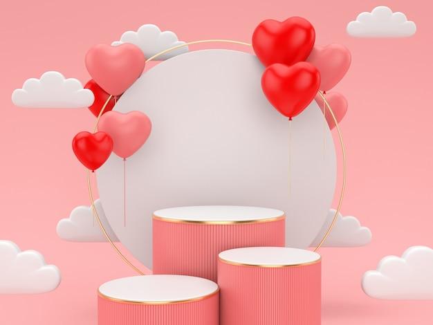 ディスプレイ製品のバレンタインのday.abstractシーンの3 dレンダリング表彰台。