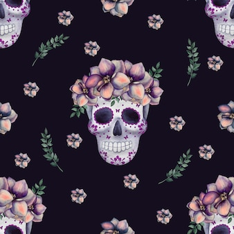 Day of the dead. beautiful watercolor drawing. close-up, no people