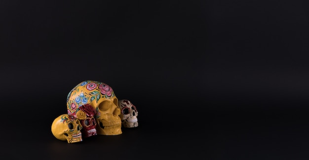 Day of the dead colorful skulls on black background