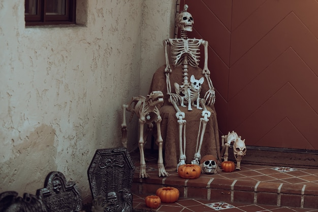 Day of the dead, halloween or dia. halloween background. halloween decoration with skeletons, ghosts and pumpkins.