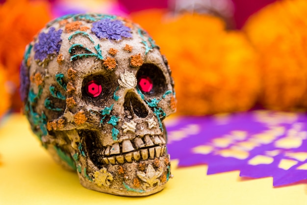 Day of the dead skull at the altar close up