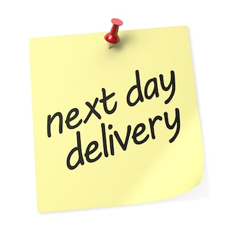 Next day delivery yellow sticky note with red push pin. 3d rendering