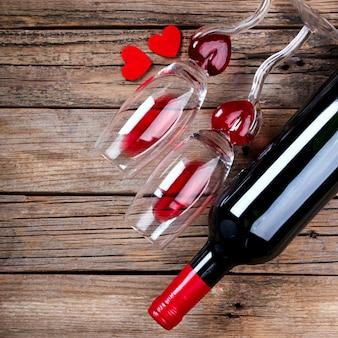 赤ワイン。ホリデーバレンタインday.greetingカード、ギフト。