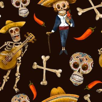 死んだシームレスパターンの日。砂糖の頭蓋骨のテクスチャ、黒の背景にシンコデマヨの壁紙