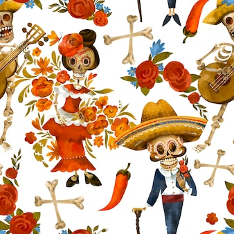 死んだシームレスパターンの日。砂糖の頭蓋骨のテクスチャ、白い背景の上のシンコデマヨの壁紙