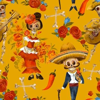 死んだシームレスパターンの日。砂糖の頭蓋骨のテクスチャ、黄色の背景にシンコデマヨの壁紙