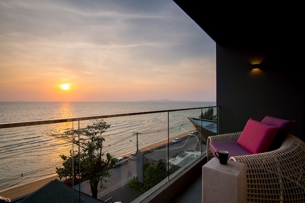 Daybed beach chair in  balcony, hotel room, pattaya, thailand