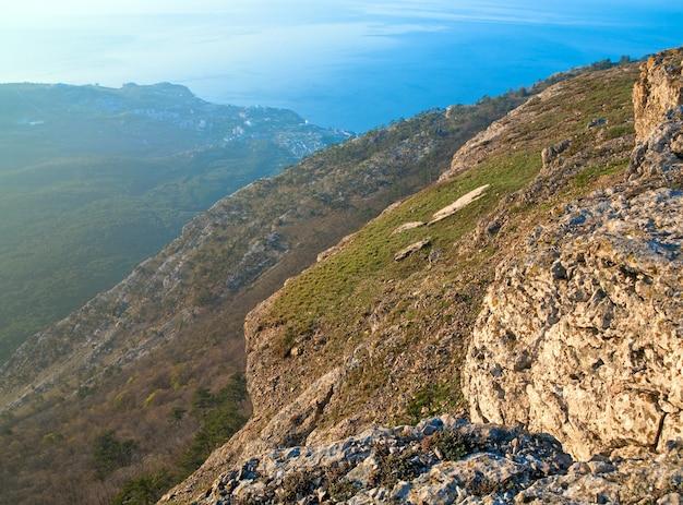 夜明けaj-ペトリ山の上面図(クリミア半島、ウクライナ)