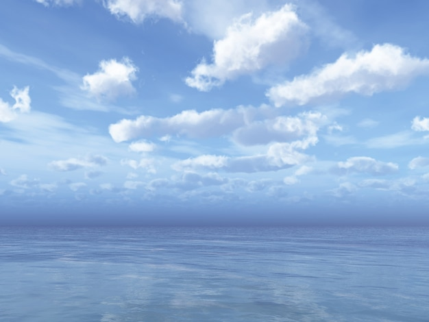 Daytime cloudy sky with fluffy clouds over sea 3d illustration