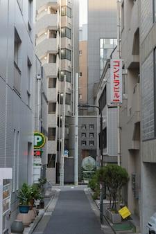 昼間の狭い空の日本通り