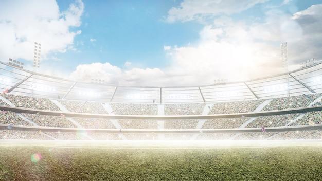 ライトのある太陽の下の昼間のスタジアム