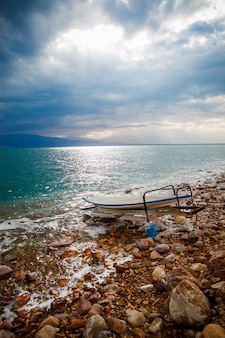 Dead sea salt shore, israel